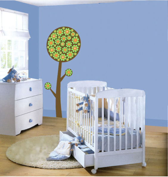 Sticky Things decorating a nursery wall