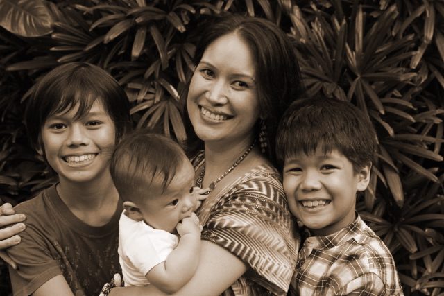 Kat Azanza with her sons